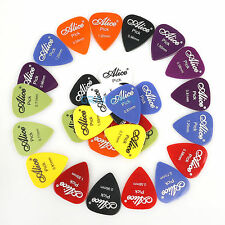 30Pcs Guitar Bass Picks Plectrums Smooth ABS Assorted Thickness Standard Size