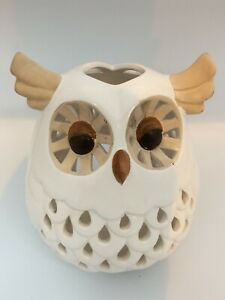 """Large Ceramic White Owl Candle Shade Holder 8"""" Tall Approx. Decorative Ornament"""