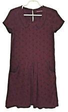 COMPTOIR Des COTONNIERS 36/ US 6 Neleri Dress Short Sleeve Burgundy Print Rayon