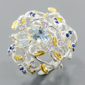 Fine Art Jewelry Blue Topaz Ring Silver 925 Sterling  Size 6.75 /R177438