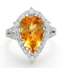 4.81 Carat Natural Citrine and Diamonds in 14K Solid White Gold Women Ring