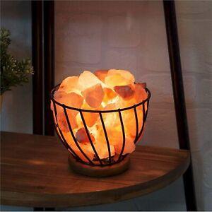 Home Decor - Himalayan Rock Salt Metal Basket Table Lamp - 14 cm x 16 cm
