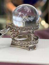 "Juicy Couture Rhinestone  Charm Love Fortune Teller Glass Ball Silver Tone 1"""