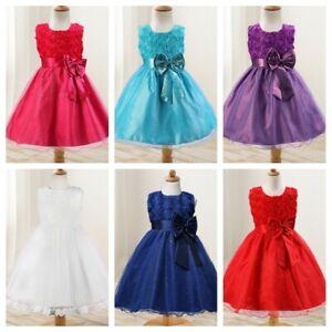 Baby Flower Girls Bridesmaid Dress Kids Party Rose Bow Wedding Dresses Princess