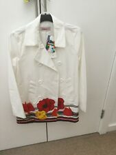 Desigual White Coat With Big Flower Size 8 Brand New