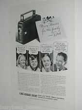 1937 KODAK advertisement, Kodak movie camera, Cine-Kodak Eight 8mm