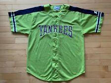 Vintage STARTER New York Yankees MLB Baseball Jersey Green/Blue Men's Sz M RARE