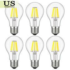 6PCS A60/A19 E26 4W 6W 8W LED COB Filament Bulb Dimmable 110V Edison Retro Light