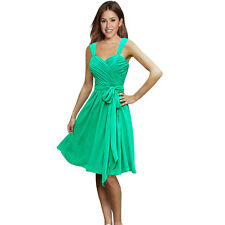 Sweetheart Pleated Chiffon Cocktail Evening Party Bridesmaid Dress Turquoise