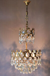 Brass Vintage Crystal Chandelier, Antique Lighting Bridal Lamp French Lustre