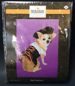 Small Breed Dog Pet Halloween Costume Pirate Wench Dress And Hat Black White Red