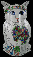 Nina Lyman Cat Vase WEDDING CAT w/ floral headband & bouquet ~ FREE SHIPPING