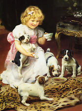 JACK RUSSELL TERRIER CHARMING DOG GREETINGS NOTE CARD GIRL WITH PUPS AND TEA