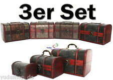 3 Piece Treasure Chests Box Storage Suitcase Jewellery Cases Set Wood A46