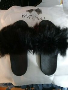 Fashion New Black Rubber Bottom Slippers Size 38-39