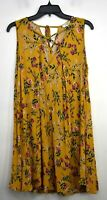 Umgee USA Women Floral Print Sleeveless Criss-Cross Neck Tie Back Tunic Top M