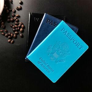 Leather Passport ID Card Holder Passport Travel Wallet Blocking Case Cover USA