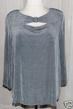 Kim&Co neuw. Shirt Gr. XXL Silber-Grau Wasserfall Dekolleté- und Ärmel-Schlitze