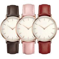 Women's Unisex Luxury Quartz Analog Watch Gold Leather Band Wrist Watches Casual