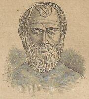 A4369 Aristofane - Incisione - Stampa Antica del 1887