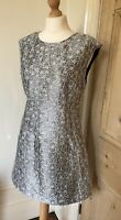 Louche Dress Size 12 Silver Grey Party Occasion Short Evening Shift Ladies Mini