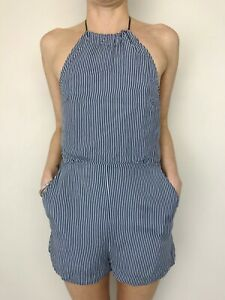KOOKAI stripe navy white halter neck romper playsuit size 34 has pockets
