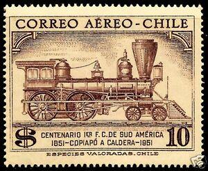 CHILE,100th. ANNIV. 1st. RAILROAD COPIAPÓ - CALDERA 1851 - 1951, MH, AIR MAIL