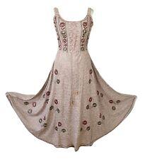 Summer Maxi Dress Empire Waist Viscose Fit Flare Fawn Beige One size 14 16 18