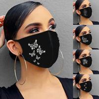 Mund MASKE Mund-Nasen-Atem-Maske Waschbar Schwarz mit Aufdruck