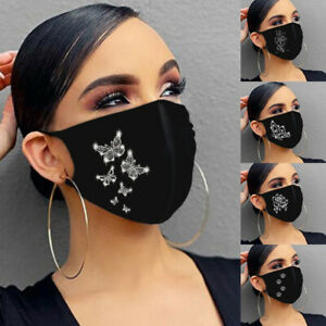 Breathable Face Mask  Crystal Rhinestone Bling Covering Glitter Sparkle Reusable