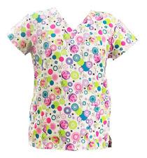 Women's Fashion Soft Medical Nursing Scrub Tops Colorful Dot Butterfly Flower S