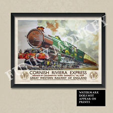 Vintage Retro Railway Travel Poster - Cornish Riviera GWR Train - A4