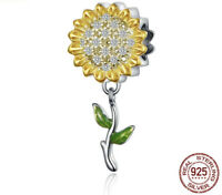 Authentic Sterling Silver Charm Sunflower Sunny Charm Bead