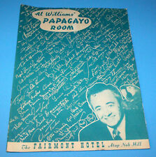 Original 1940s Al Williams Papagayo Room Menu Fairmont Hotel San Francisco CA