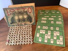 Vtg McLoughlin Bros Lotto game 1895-1909 kitten graphics Bingo Denby Cigar BoxI1