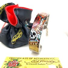 Authentic Ed Hardy Skull Cuff Stainless Steel Bracelet