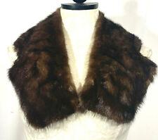 """Vintage Genuine Mink Fur Collar Scarf Wrap Neck Warmer Shawl  DARK BROWN 32""""L"""