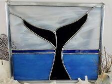 Handmade Stained Glass Whale Panel Framed Art Ocean Scene Wall Hanging Window