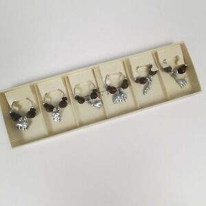 Wine Glass Charms Pier 1 Imports  Set of 6 Jungle Animals Safari Beads Giraffe