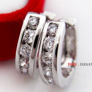 18k 18ct white gold GF hoop huggies solid women earrings made with swarovski
