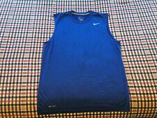 Nike Mens Sleeveless Dri Fit T Shirt Blue Medium Tee Tank Top