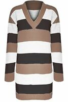 Womens Cricket Blocks Stripes Sweater Ladies Knit V Neck Mini Dress Jumper Top