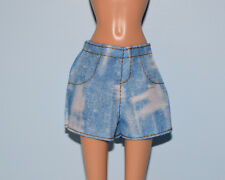 Acid Wash Blue Denim Jeans Shorts w/ Gold Thread Genuine Barbie - Fits Curvy