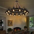 Retro Hemp Rope Chandelier 12Light Cage Pendant Light Bar Ceiling Lamp Decor US
