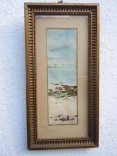 Tableau plage concarneau André Chauvet aquarelle plage Concarneau 1902