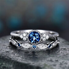 Women Round Cut Sapphire Engagement Ring 925 Silver Plated Wedding Band Size6-10