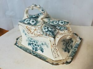 Antique cheese dish impressed 77 painted 158 Victorian Art Nouveau floral