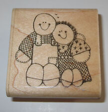 Loving Couple Rubber Stamp DOTS Man Woman Hug 1989 Retired Country Love G 117