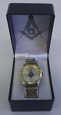 New Masonic Mason Watch Wristwatch Gold & Silver Tone Square & Compass