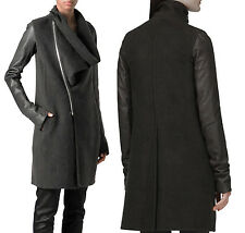 RICK OWENS Black Wool Leather Draped Cowl Collar Asymmetric Trench Coat US 6